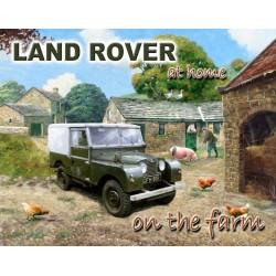 Plaque metal Land rover a la ferme 15x20cm