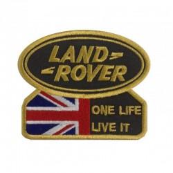 Ecusson à broder LAND ROVER et drapeau anglais - Vert et or